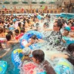Summerland Wave Pool, Hachioji, Tokyo, Japan Creates a 1 meter wave for 5 minutes every hour on the hour.  100s of swimmers crowd into the pool in anticipation of waves, then jump out and wait for the next round of waves.